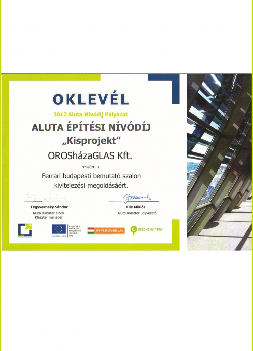 """Diplom 2012 –  Aluta Konstruktion Award """"Kleines Projekt"""" – Für Ferrari-Ausstellungsraum in Budapest"""